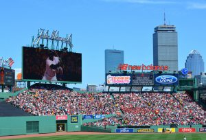 BOSTON MASSACHUSETTS, USA - July 6, 2014: View of the center field bleachers and Back Bay skyline during a Boston Red Sox game at Fenay Park on July 6, 2014.